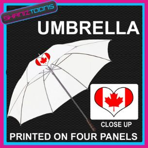 "CANADA LOVE HEART FLAG WHITE 30"" UMBRELLA  LONG HANDLE"